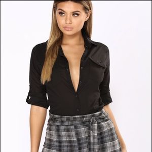 Fashion Nova black button down shirt (NW)